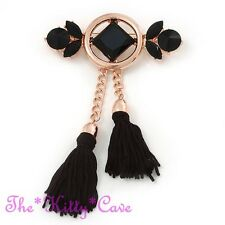 Victorian Deco Style Long Gold Plated, Black Glass & Tassel Statement Brooch Pin