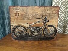 """TIN SIGN """"HARLEY DAVIDSON Route 66""""  Vintage Style Man Cave Motorcycle Decor"""