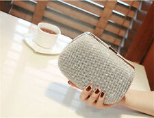 Wedding Bridal Women Crystal Rhinestone Evening Clutch Bag Handbag Purse Silver