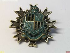 steampunk brooch badge pin green coat of arms crest regal