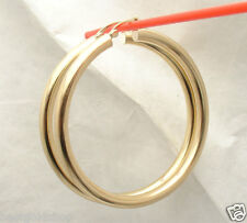"""4mm X 50mm 2"""" Large Plain Shiny Hoop Earrings REAL 14K Yellow Gold FREE SHIPPING"""