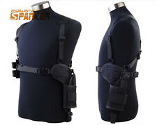 Tactical 1000D Universal Chest Rig Shoulder Pistol Gun Holster Magazine Pouch BK