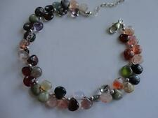 STRAWBERRY, RUTILATED QUARTZ ~CAT EYES~AMETHYST~GARNET STERLING SILVER BRACELET