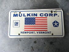 MULKIN CORP GM NEWPORT VERMONT VT DEALER SHIP BOOSTER LICENSE PLATE