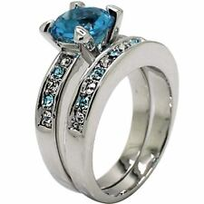 Size 5-11 Wedding Engagement Ring Set  Sapphire Blue Gem Halo Bridal Princess