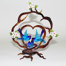 VETRO DI MURANO ramo cuore con uccelli. MURANO GLASS branch heart with birds