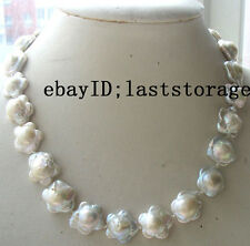"WOW! freshwater pearl white flower necklace 16.5"" nature wholesale beads fashion"