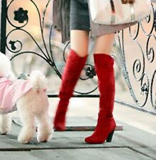 Fashion Suede Women's Sexy Over The Knee Thigh High Long Boots Block Heels Shoes
