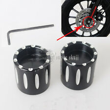 Black Deep Edge Cut Front Axle Cover Cap Nut For Harley Sportster XL883 1200 LF