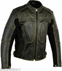 Men's Motorbike/ Motorcycle Protective CE Armour Quality Leather Jacket Black