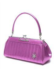 Lux De Ville Stardust Kiss Lock Bag Violet Sparkle Retro Pinup Rockabilly Hotrod