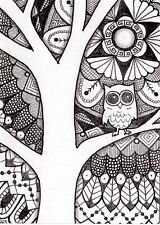 ACEO ATC Original ink pen art Drawing owl doodle pattern zentangle black & white