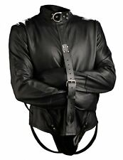 Strict Leather Straight Jacket Bondage S&M Torture Master Black ST984-Large REAL