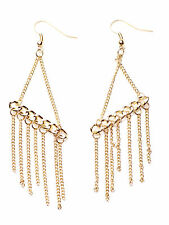 GOLD CHAINLINK DANGLY PARTY EARRINGS WITH GOLD CHAINLINK TASSELS (NS1)