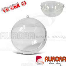 PALLINA PLASTICA DECOUPAGE PALLA DIAMETRO 15 CM- ALBERO NATALE DECORO SFERA 2 PZ