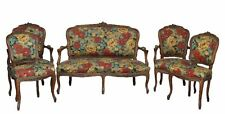 salon rocaille  en noyer style Louis XV 5 pièces tapissé