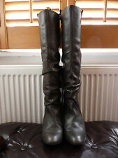 ZARA WOMENS DARK GREY LEATHER KNEE HIGH BLOCK HEEL BOOTS UK 5 EU 38