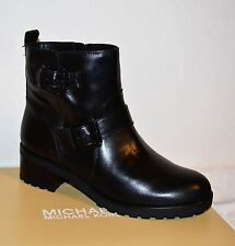 NIB Michael Michael Kors Gretchen Bootie Women Leather Black Ankle Boots 8M