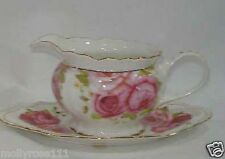 Fine Bone China Shabby Chic English Rose Gravy Boat  Jug & Plate.