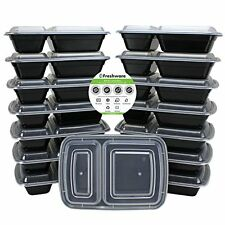 Bento Lunch Box Food Prep Containers 15 Piece With Lids 2 Section Meal In A Box