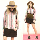 WOMENS VINTAGE 70'S PINK & GREY STRIPED PATTERN OVERSIZE SHIRT BLOUSE 12 14