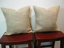 16x16 SET of 2 BURLAP PILLOW THROW CUSHION COVERS COUNTRY RUSTIC JUTE DECOR  NEW