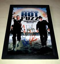 "HOT FUZZ CAST X3 PP SIGNED & FRAMED 12""X8"" POSTER SIMON PEGG NICK FROST"