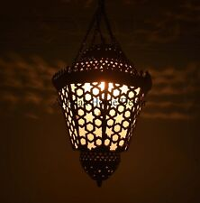 """Handcrafted 16"""" Tall Moroccan Middle Eastern Brass Hanging Lantern Lamp Lighting"""