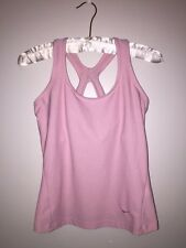 NIKE FIT DRY SPORTS TOP SIZE SMALL PINK RACERBACK TANK BRA INSERT TENNIS RUNNING