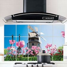 Windmill Pink Flower Kitchen Wall Decal Sticker Exhaust Grease Oil Proof