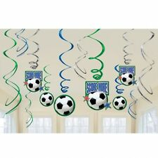 12 x VALUE PACK FOOTBALL SOCCER BIRTHDAY PARTY HANGING SWIRL DECORATIONS