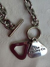 """Vintage Hershey Kiss Chain Link Necklace Pendant 18"""" Silvertone Chocolate"""