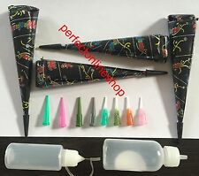 4 Black Henna Cones + Applicator Bottle Set Jagua Ink Body Art Temporary No PPD