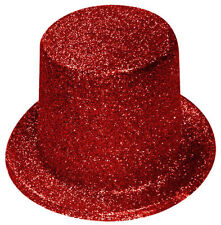 RED GLITTER SPARKLE LINCOLN TOP HAT - FANCY DRESS PARTY ACCESSORY H23 017
