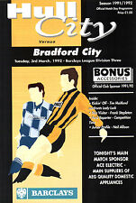 1991/92 Hull City v Bradford City, Division 3, PERFECT CONDITION