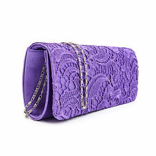 Satin Floral Lace Designer Clutch Bag Evening Purse Ladies Party Wedding Womens