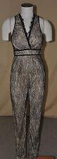 Arden B. Womens Plunging Neckline Lace Jumpsuit Black/Beige Size Medium NWT $119