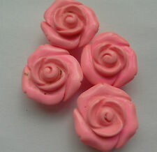 4 Carved Rose Beads, Pink Turquoise Gemstone, 20mm. Jewellery Making/Crafts