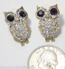 Whimsical Owl Pierced Earrings, Sparkly Clear Pave Rhinestones, Black RS Eyes 1""