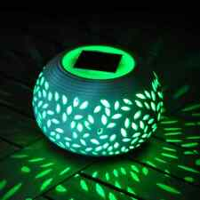 COLOUR CHANGING LED SOLAR POWERED LIGHT TABLE GARDEN OUTDOOR LAMP CERAMIC STONE