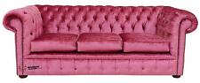 Chesterfield 3 Seater Boutique Rose Pink Velvet Fabric Sofa Settee