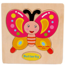 Wooden Butterfly Puzzle Educational Developmental Baby Kids Training Toy D10