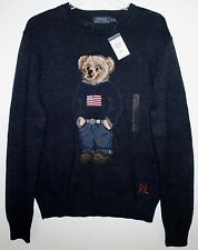 Polo Ralph Lauren Mens Navy Blue RL Flag Polo Bear Cotton Linen Sweater NWT XL
