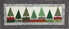 Christmas Tree Table Runner/Wall Hanging 20 x 47 Quilt Top - Holiday Cotton Grey