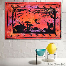 Indian Tapestries Wall Hanging fairy dragon pagan medieval psychedelic art