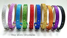 10pcs Glint PU Leather Buckle Wristband Fit 8mm Slide Charms Free Shipping