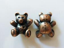 10 x adorables petits 3D Ourson charmes de perles en couleur cuivre rouge LF NF