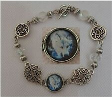 Silver White Wolf Link Bracelet handmade New Accessories Fashion Filigree