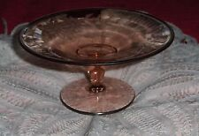 Vtg Peach Colored Floral Etched Glass Pedestal Stand Salmon Serving Dish Tray