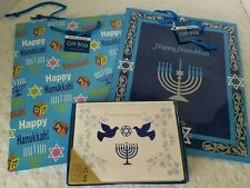 NEW Lot of 6 Hanukkah Gift Bags (2 Different Designs) and Box of Greeting Cards